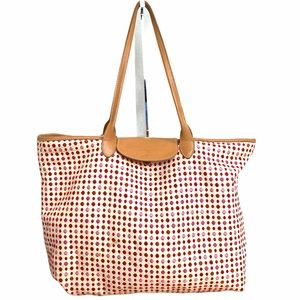 Longchamp Canvas and Leather Embroidered Tote